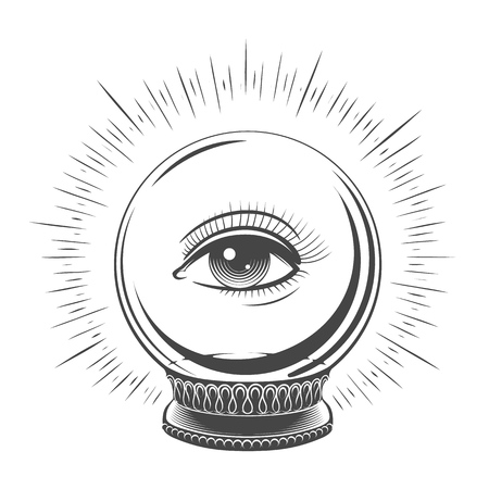 Crystal ball with eye. Spiritual fate woman eye tattooed art, fortune teller magic ball vector design sketch illustration