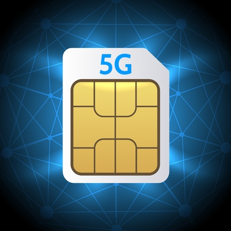 Sim card 5G. Mobile hotspot network cellphone chip, 5G gsm cell connection simcard, lte internet technology, vector illustration