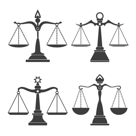Vector justice scales. Justices scale set or simple court decision icons, corruption and law balancing isolated on white background Vector Illustration