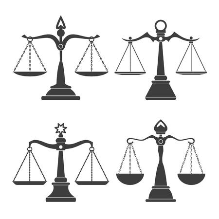 Vektor-Gerechtigkeitsskalen. Richterskalasatz oder einfache Gerichtsentscheidungssymbole, Korruption und Rechtsausgleich isoliert auf weißem Hintergrund Vektorgrafik