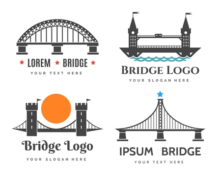 Abstract bridge  symbols for city tourism and road construction company, curved vector graphics Stock Illustratie