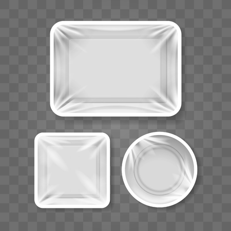 Food plastic container templates. White meal box set, cooking packaging storages, vector white packaged tray illustrations