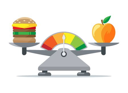 Scales of woman eating. Apple fruit healthy food and unhealthy cheeseburger green to red excess weight balancing vector illustration