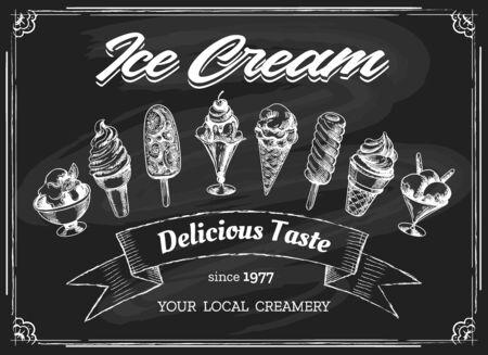 Dibujo de pizarra de tiza de helado. Bosquejo de crema esquimal sobre fondo de pizarra, heladería o restaurante menú de postres vector dibujado a mano ilustración