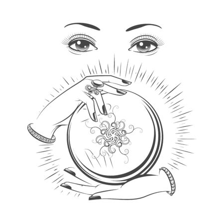 Clairvoyant ball. Vector crystal ball with hands and spiritual woman fortune teller face, hand drawn clairvoyant black and white illustration Ilustração