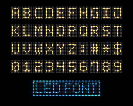 Digital signing led panel. Electronic leds score font background, type letters and numbers dots alphabet screen, dotted signs matrix display vector illustration Çizim