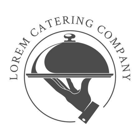 Catering emblem. Cater company vector catered restaurant  for hot outdoor food service with waiter hand and dish on white  イラスト・ベクター素材