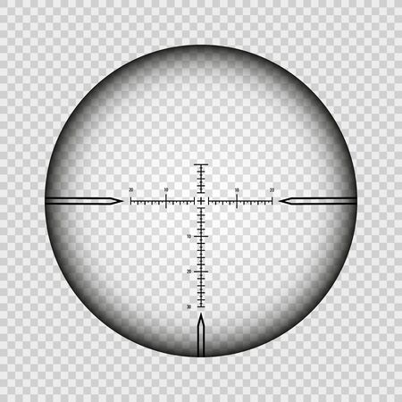 Sniper scope cross. Rifle optical sight isolated on transparent background, vector aim search scoping symbol, weapon aiming target with hairs cross