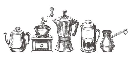 Coffee maker sketch. Coffee brews methods hand drawn vector illustration, espresso and french pressed, pouring pot and technical doodle coffees machines