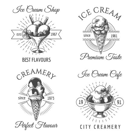 Ice cream badges. Dairy icecream dessert sketch icons on white, hand drawn vanilla icecreams  vector designs
