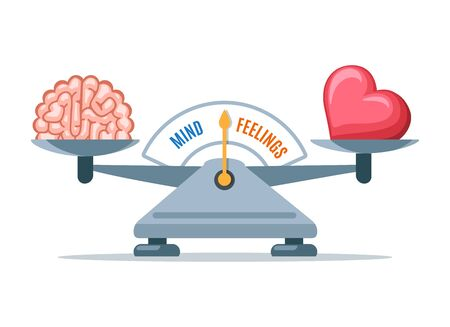 Emotional balance. Cartoon heart emotions and intelligence logic scale balancing vector illustration