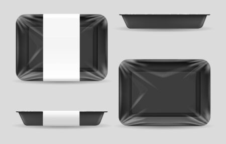 food storage. Dark food plastic tray, black foam meal container, empty fresh foods box vector illustration isolated on white background  イラスト・ベクター素材