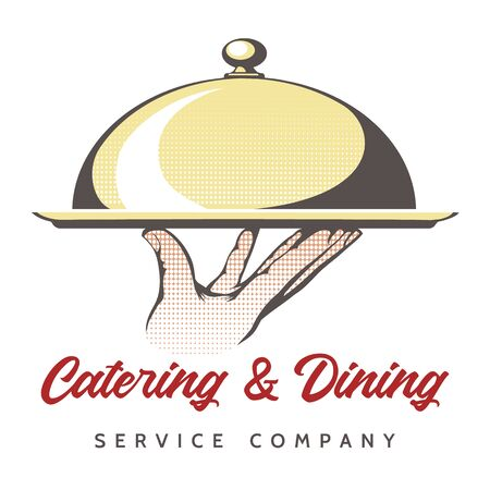 Catering retro emblem. Kitchen catered and outdoor dinning service for party or events with gourmet food, express or fast chef culinary dishes, vector illustration  イラスト・ベクター素材