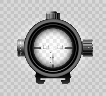 Realistic sniper scope. Zoom out sniper view vector army element, military zooming goals scope with crosshair transparent circle background