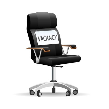 Hiring office chair. Empty corporate job seat with hanging vacancy vector illustration, offices free talent search place  イラスト・ベクター素材