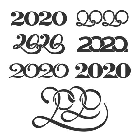 Numbers 2020. Happy new year number patters design, 2020 quarters holiday   set, vector illustration