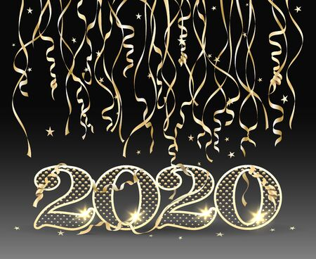 New year 2020 card. Happy new year decoration design concept with 2020 numbers and gold streamer ribbons on black background