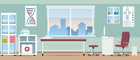 Doctor office room. Vector empty doctors clinic office offices background image, first aid hospital business cartoon illustration
