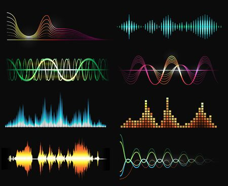 Speaking waves. Radio sound vector wave set, speak signal patterns, digital voice soundtrack illustrations, aloud vibrant audio symbols