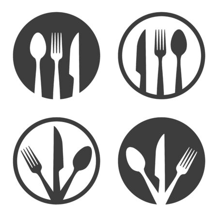 Fork knife spoon plate sign. Meals and culinary icon, plate with dinner cutlery vector abstract image