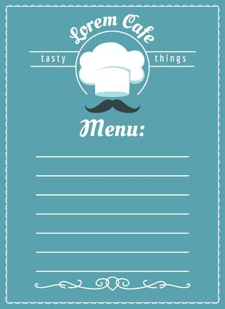 Cafe menu template. Bakery or restaurant menu or brochure template design with chef hat and mustache vector illustration