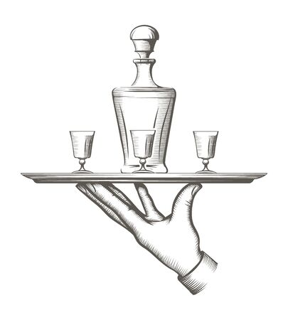 Vintage tray with drinks. Old style waiter tray with drink carafe and glasses, catering and waitering engraving sketch vector illustration  イラスト・ベクター素材