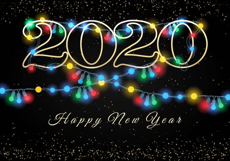 New year 2020 lights garlands background. Holiday light bulbs black background, glowing christmas colorful lamp lights festival or party vector decorative image
