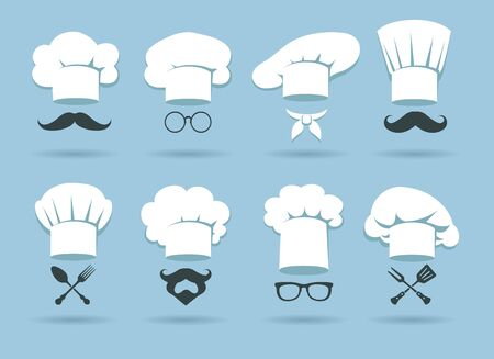 Cook chef hat   graphics with chefs hats and cooking accessories, vector illustration  イラスト・ベクター素材