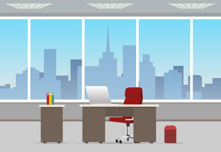 Office room business interior. Home or corporate offices workstation with chair and computer, table and window, working background cartoon vector illustration  イラスト・ベクター素材