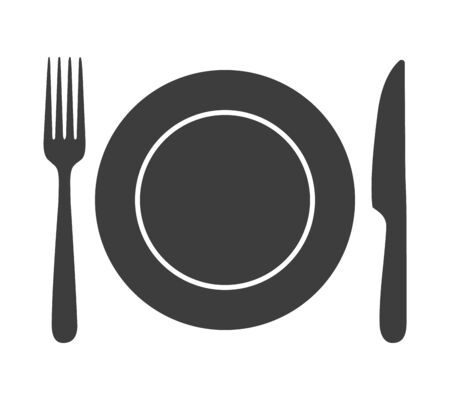 Icona di posate pranzo. Piatto, forchetta e coltello piatto segno, cena cibo simbolo vettore silhouette isolato su sfondo bianco, tavolo da pranzo place