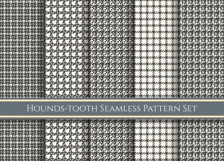 Houndstooth patterns. Dog tooth fabrics swatches,   check fabric pattern set, vector plaid or tweed checks background textures bundle  イラスト・ベクター素材