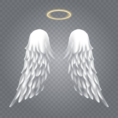 Angel wings with nimbus. Vector angels golden halo and cute heavenly white wings on isolated backround