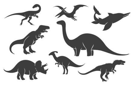 Insieme della siluetta del dinosauro. Sagome di rapaci mesozoici, antiche illustrazioni nere di pangolino rex