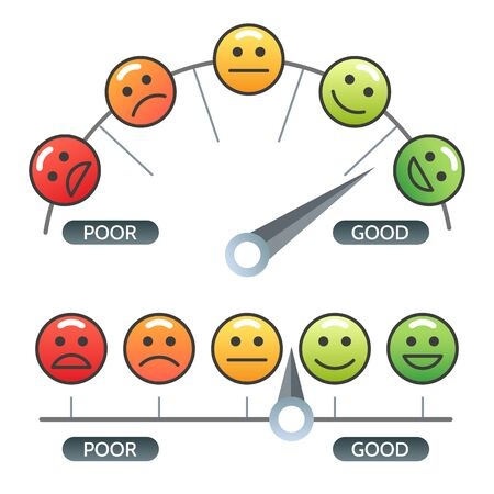 Smile indicator. Risk scale with faces icons, color emoticons satisfaction rating with arrow, customer business quality meter, vector illustration
