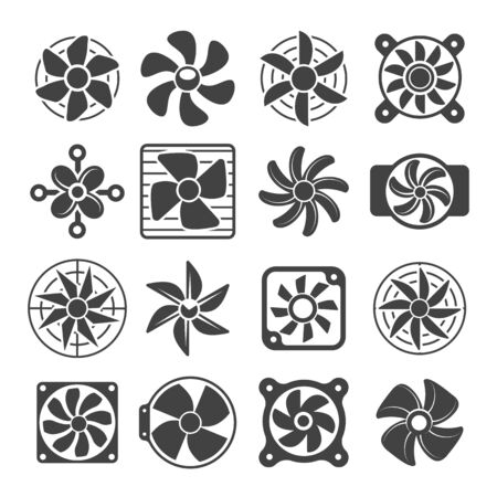 Cooling fan icons. Cool fans vector symbols, electrical air industry signs, electric wind climate industrial propellers with blades