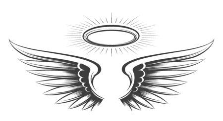 Saint vleugels schets. Heilige duivel of engel vleugels tekening, angeles veer hand getekende vector schets met halo engelachtige tattoo illustratie