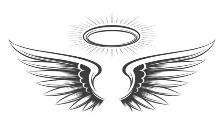 Saint wings sketch. Holy devil or angel wings drawing, angeles feather hand drawn vector sketch with halo angelic tattoo illustration