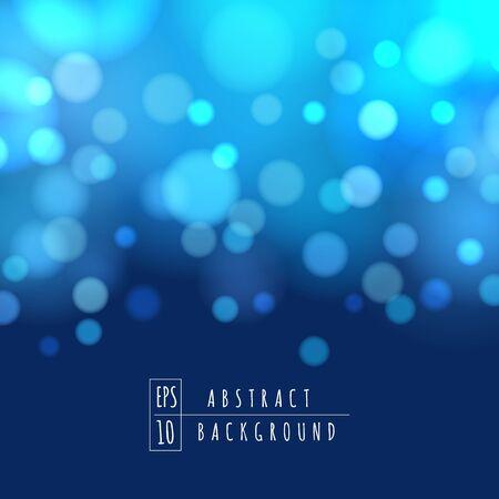 Blue bokeh lights vector image. Blues and silver sparkles circles abstract background, night shining sky or blurred sea defocused ground