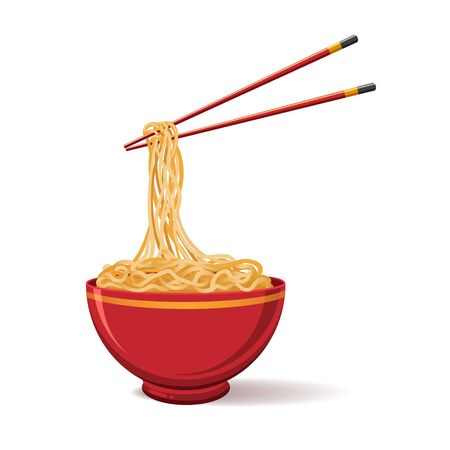 Oriental noodle food. Asian noodles isolated on white background, ramen tradition chinese restaurant image with pasta and chopsticks, vector illustration
