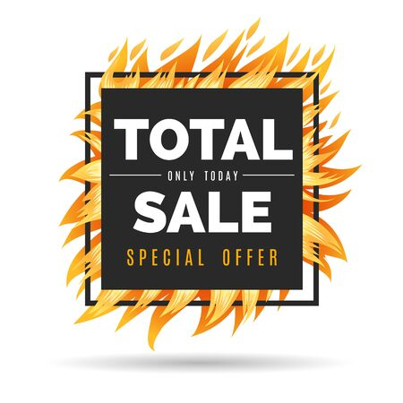 Fire sales frame. Hot offer with text deal, special sale vector template for store promotion price in square flame frame vector illustration