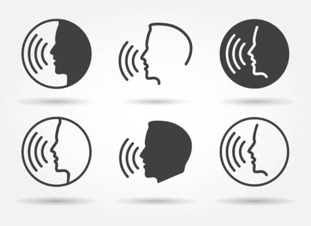 Speaking icons. Talk or talking person sign, man with open mouth, speech icon for interview, interact and talks controls, vector illustration  イラスト・ベクター素材