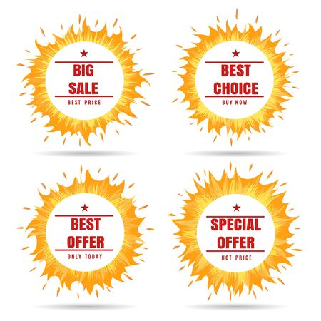 Fire frame label. Heat summer special offer and best choice circles, vector circle hot fire business offers