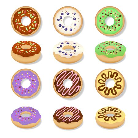 Glazed doughnut set. Isolated donuts with glaze and bite, colorful eaten chocolate icing fritters or caramel circle doughnuts  イラスト・ベクター素材
