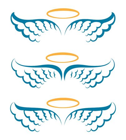 Heaven angeles wings. Holy angel wings with saint halo hand drawn symbols isolated vector, simple heavenly icons