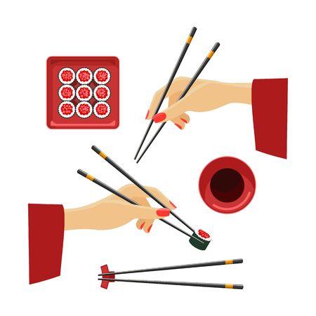 Rollos japoneses gourmet. Manos orientales con palillos de madera de bambú, plato de salsa de soja asiática y conjunto de rollos de sushi aislado sobre fondo blanco, ilustración vecor