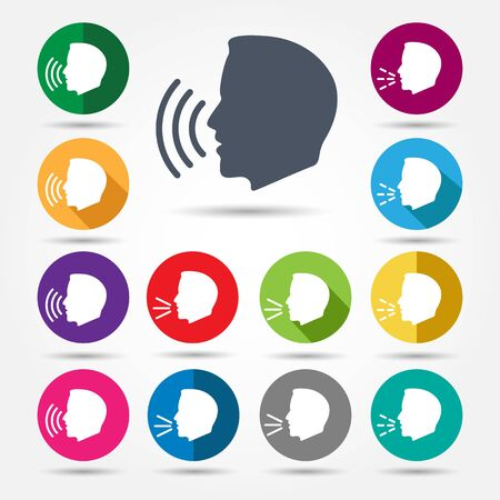 Talk or speak icons. Speaking control sign, system voice command, human scream or talking icon for meeting, communication chat or life conversation, vector illustration Illustration