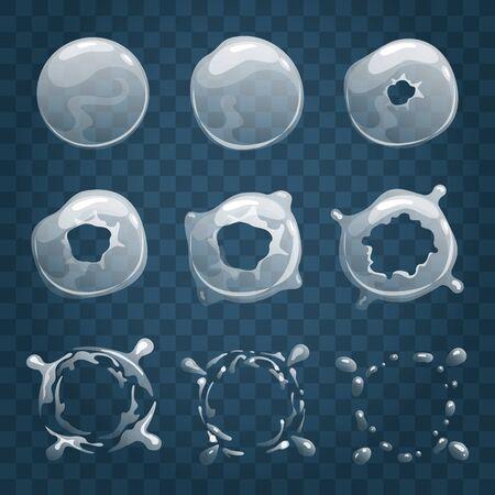 Bubble sprite animation. Cartoon bubbly explosion effect process, vector soap ball puff bursting animator frames