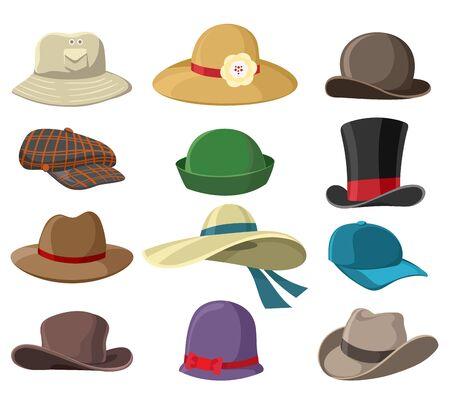 Cappelli e copricapi. Immagini di cappelli isolati su sfondo bianco, illustrazioni vettoriali di copricapi per uomo e donna, copricapi di cappelli per signore e signori and