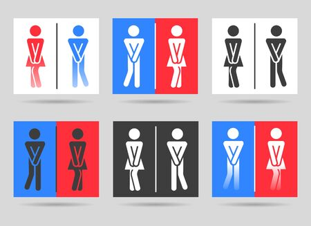 Funny toilet icons. Fun wc signs, public restroom or washroom man and woman couple art symbols, vector illustration  イラスト・ベクター素材
