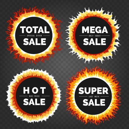 Sale fire borders. Deals round hot fire circle stickers, offers flame abstract advertising badges with text, hot deal discount signs